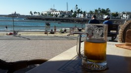 Enjoying a beer in Gran Canaria