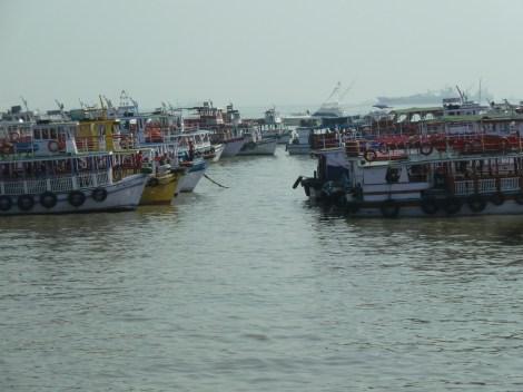 Ferry boats waiting to go to Elephant island