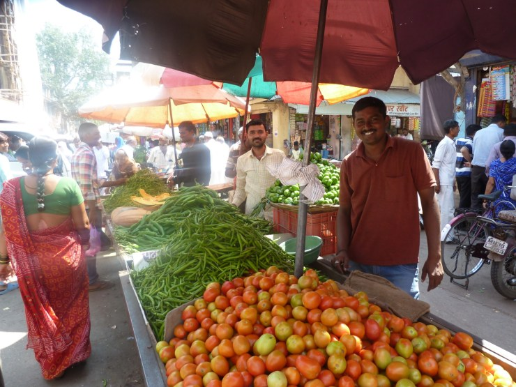 Happy faces in the market