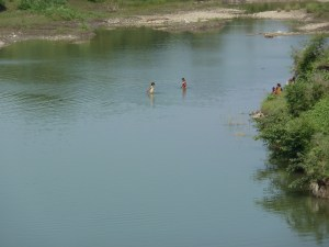Locals bathing in the river