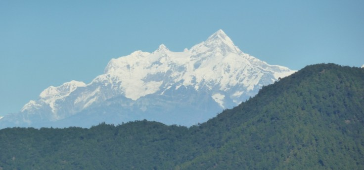Starting to come down the Tribhuvan Highway with the snow covered mountains in the distance