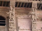 Wooden carvings on the buildings inNasel Chowk Durbar Square Kathmandu