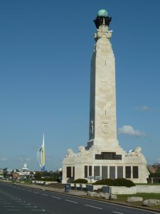 Southsea war memorial with the Spinnaker Tower