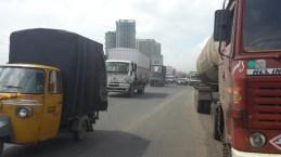 The busy roads leaving Mumbai.