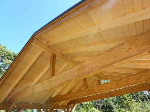 wooden roof construction of outdoor carport