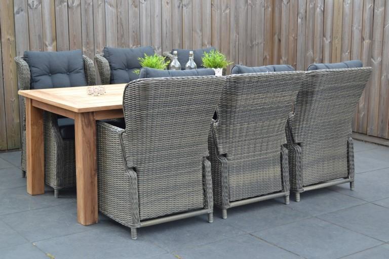 Delhi Teakholz Tisch Mit 6 Valencia Verstellbare Stühle Kobo Grey 13
