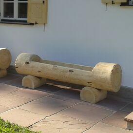 Alm Hütten Holztrog Garten Brunnen Rund aus Holz  - Alpinbrunnen
