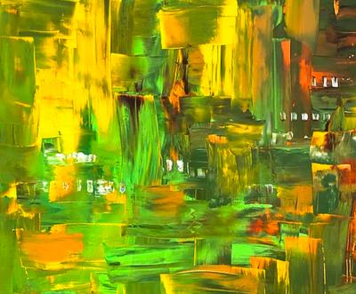 Hill Village, acrylic on canvas (2020) 36 x 36 cm