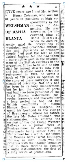 The First Stationmaster of  Brynmenyn Station and the Coleman Family (4/6)