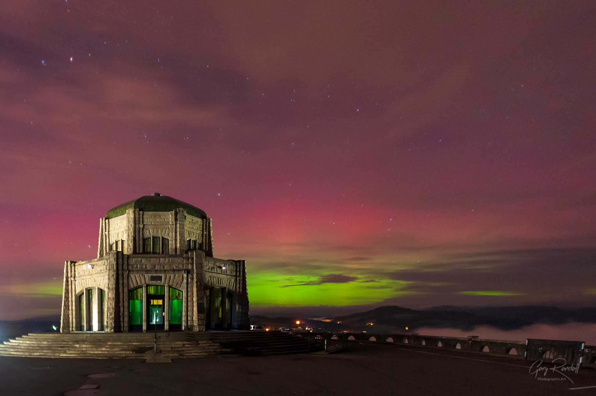 The Northern Lights over Vista House and Crown Point Oregon