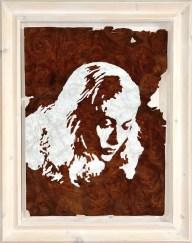 Walnuss Maser Furnier, lackiert. Fichtenrahmen, weiß lasiert. Walnut Burl veneer painted, white stained Spruce frame. 97cm x 76,5cm x 10cm