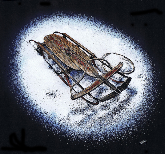 Old sled in scratchboard