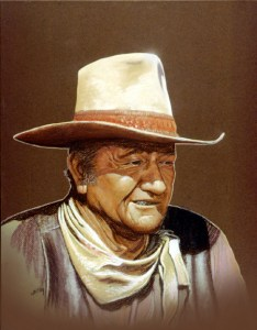 Portrait of John Wayne. Pastels on board by Gary Whitley.