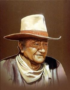 Portrait of John Wayne. Pastels on board by Gary Whitley.