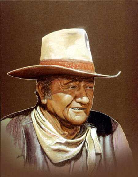 Portrait art of John Wayne. Pastels on board by Gary Whitley.