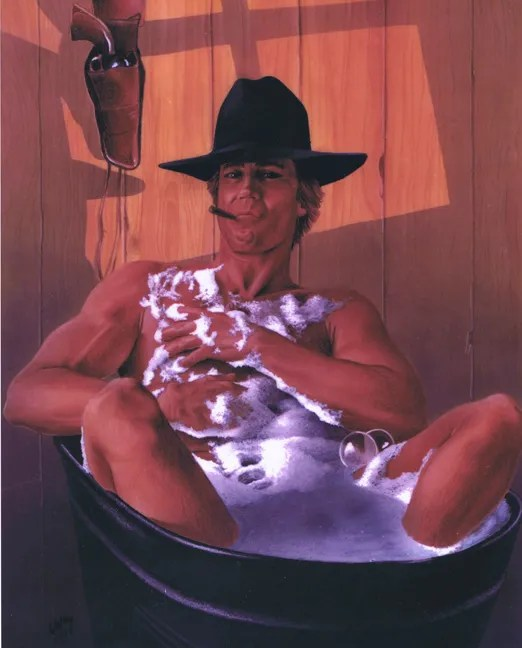 Cowboy bath. After a hard month or two on the range there is considerable need for a good cleaning up.