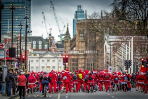Santas Riding for Charity in London