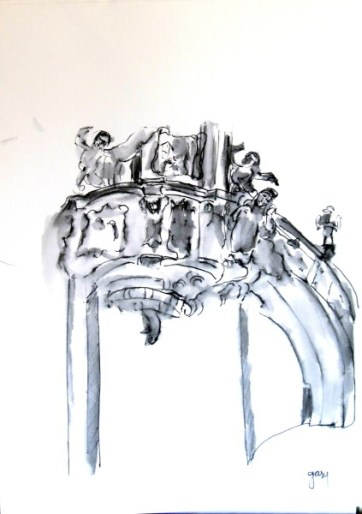 Basilika Mariatrost section of pulpit, pen and ink