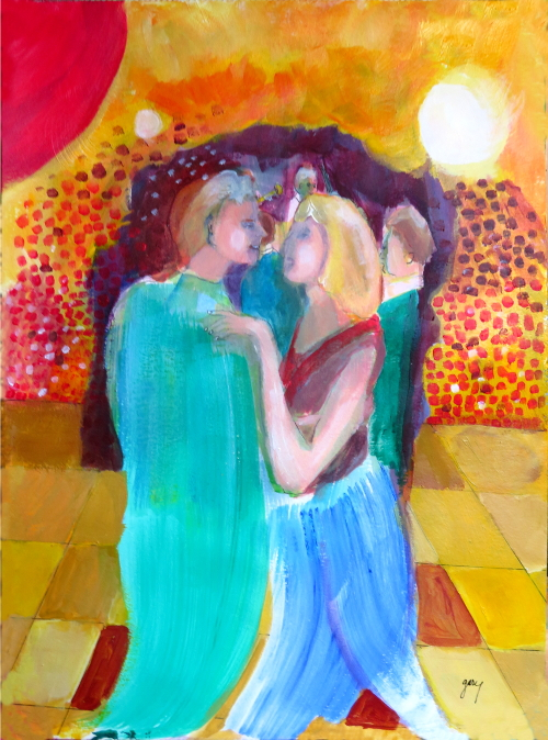"Couple Dances IV, acrylics on paper, 11.5 x 16.5"", 30 x 42 cm"