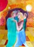 """Couple Dances IV, acrylics on paper, 11.5 x 16.5"""", 30 x 42 cm"""