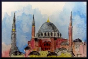 """Hagia Sophia miniature (4"""" x 6"""") acrylics on postcard stock"""