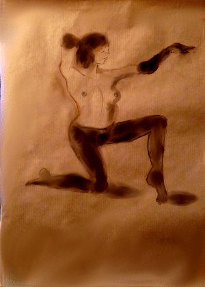 Model with Tights, conte crayon on butcher block paper