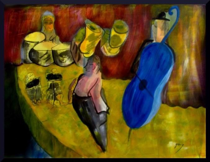 """Horns and Contrabass at Palau de la Musica,acrylics, 56 x 76 cm 23 x 30"""" on paper"""
