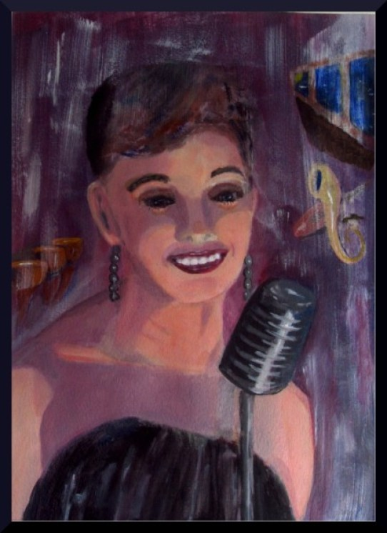"Jazz Singer, acrylics A3, 16.5 x 11.5"" on paper"
