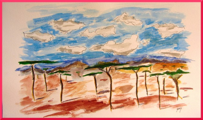 "Tanzanian Plains, watercolor, A3, 11.5 x 16.5"", acrylics on paper"