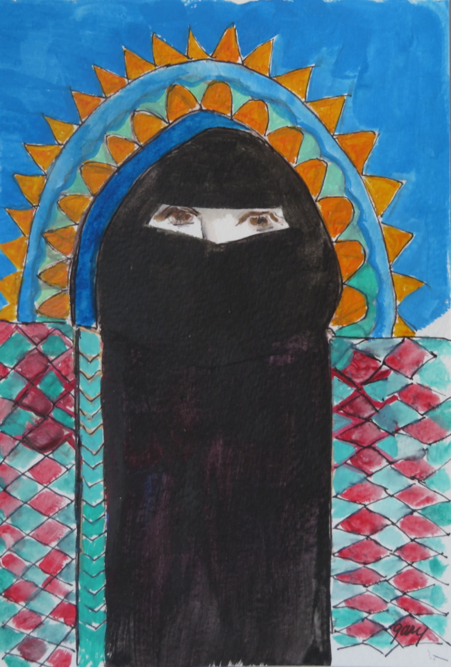 Woman in Hijab Arch, acrylics on paper, 13.5 x 21 cm/ 5.3 x 8.15""
