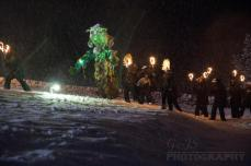 The Green man approaching Jack Frost ready to do battle.