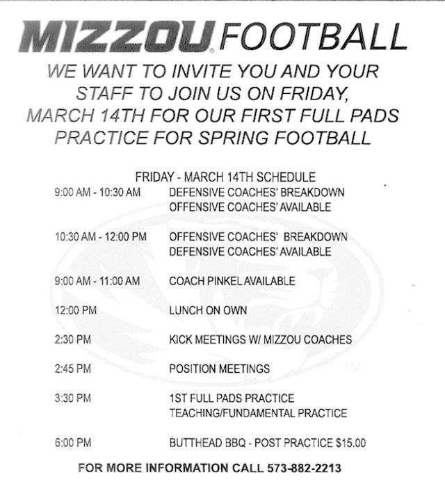 Mizzou Coach Clinic Info