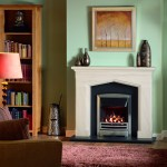Swinford mantel with granite back panel and Stratos gas fire