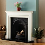 Emmerdale wooden mantel with black cast iron fireplace