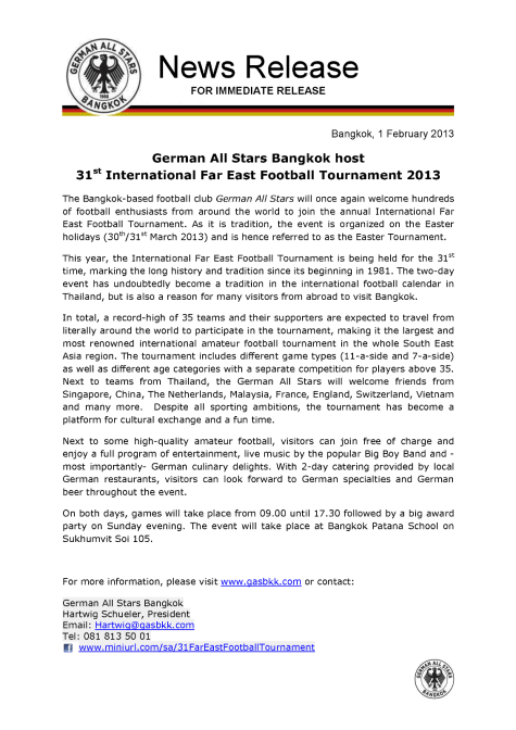 News Release - German All Stars Bangkok host 31st Far East Football Tournament 2013