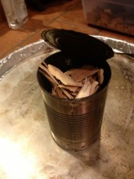 Dry wood chips in bean can