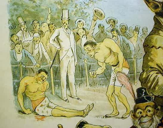 Back in the day, boxers punched each other in front of some dandy. until their shorts started to fall down.