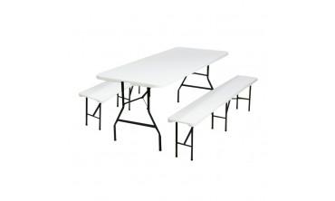 table pliante d appoint 180cm 2 bancs pliants