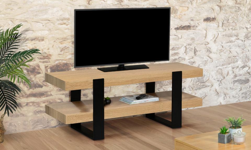 meuble tv bois noir brixton