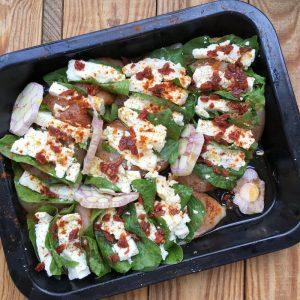 Hühnerbrust mit Spinat und Feta