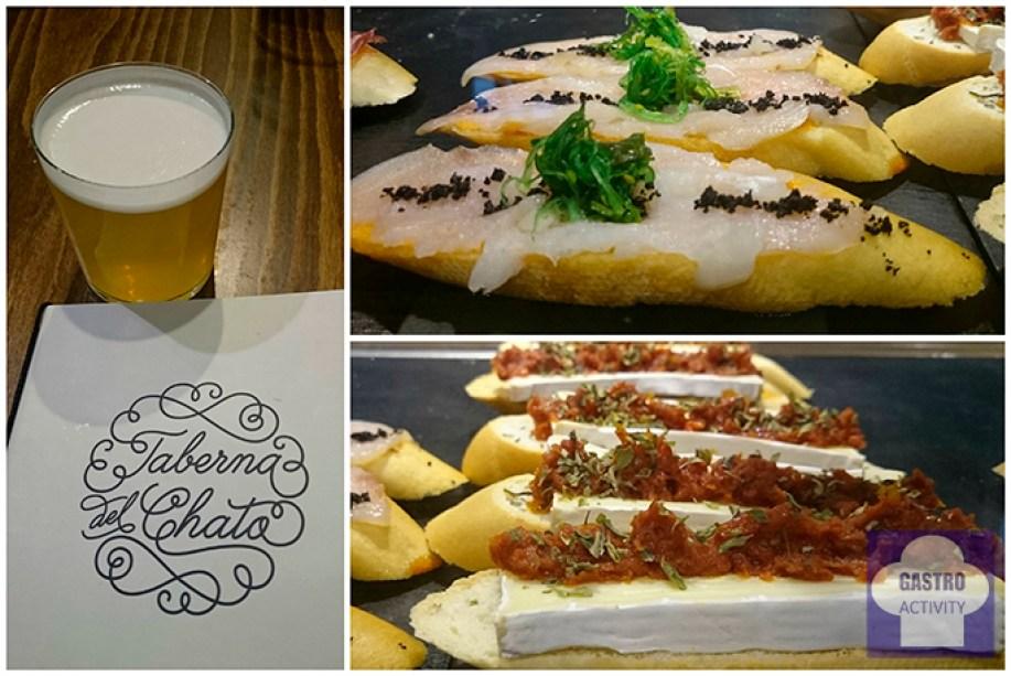 cerveza. Tapa de bacalao y Tapa de queso Brie Taberna Chato Madrid