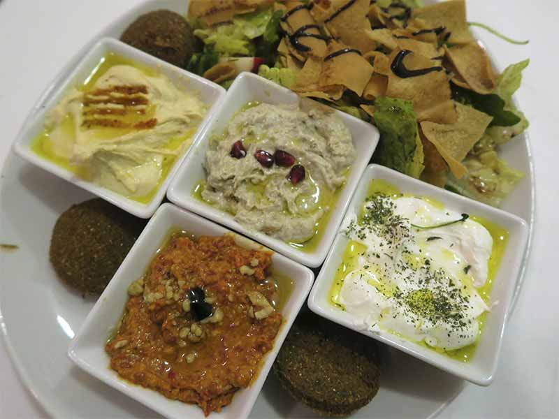 Restaurante Fairuz comida libanesa Madrid Moutabbal Hummus Mouhammara Labneh