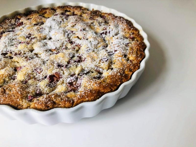 Rabarbertærte med marcipan og hvid chokolade