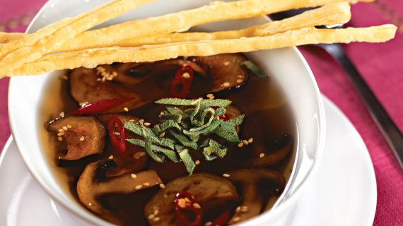 Eggplant soup with mushrooms