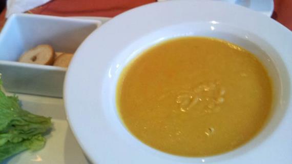 Lentil cream soup in oriental (author's recipe)