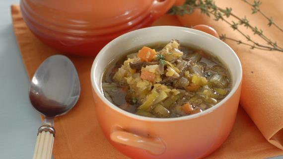 Mushroom soup with lentils