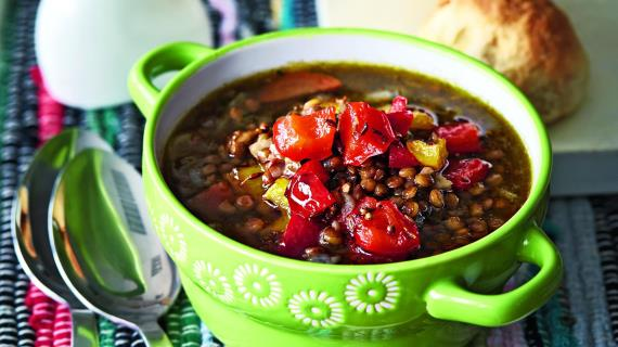 Lentil Chowder with Roasted Pepper