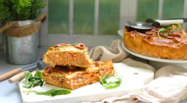 Пирог дрожжевой с рыбой и рисом, пошаговый рецепт с фото