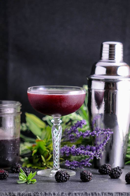 Blackberry Lavender Shrub in cocktail coupe with mason jar and cocktail shaker in background. Lavender flowers and blackberries