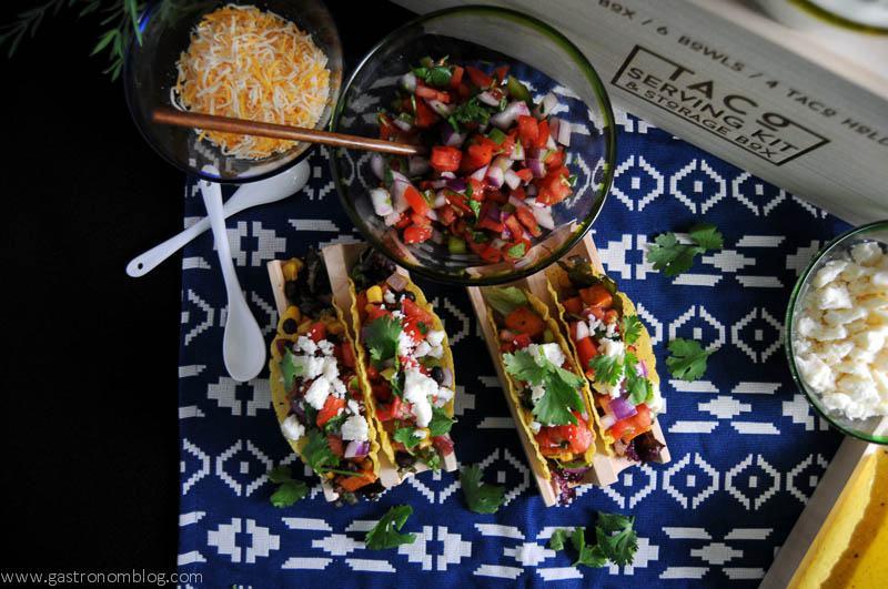 Sweet potato, black bean and corn tacos